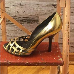 BCBGMaxAzria Gold Open Toe High Heels Size 6.5